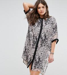 Платье-рубашка со звериным принтом и контрастными рукавами Religion Plus - Розовый