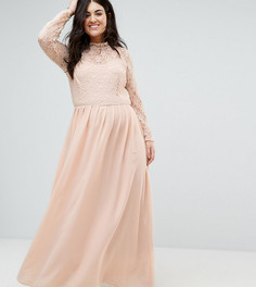 Платье макси с кружевным лифом John Zack Plus - Розовый