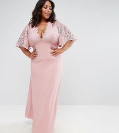 Платье макси с кружевными рукавами клеш John Zack Plus - Розовый