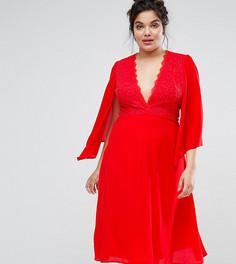 Платье миди с кружевом и кейпом John Zack Plus - Красный
