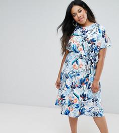 Платье миди с открытыми плечами, цветочным принтом и поясом Closet Plus - Мульти