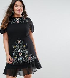 Платье с вышивкой и баской по краю Frock And Frill Plus - Черный