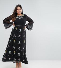 Платье макси с цветочной вышивкой и рукавами клеш Frock And Frill Plus - Черный