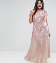 Платье макси с розами и оборками на рукавах Frock And Frill Plus - Розовый