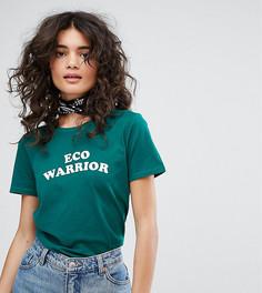 Футболка из органического хлопка с надписью Eco Warrior People Tree - Зеленый