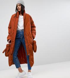Дутая куртка с варежками ASOS TALL - Красный