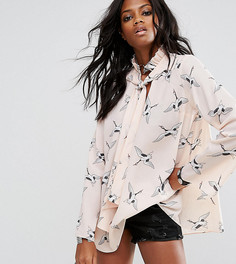 Блузка с завязкой и принтом птиц Reclaimed Vintage Inspired - Черный