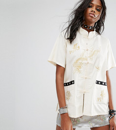 Рубашка с вышивкой и люверсами Reclaimed Vintage Inspired - Кремовый