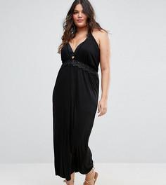 Пляжное платье макси с глубоким вырезом и кружевной отделкой Boohoo Plus - Черный