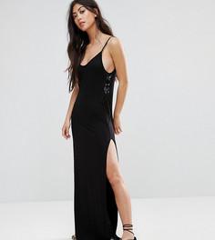 Платье макси со шнуровкой сбоку Boohoo Petite - Черный