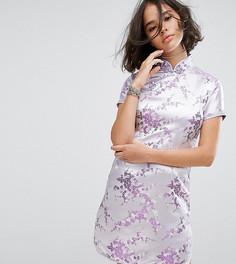 Парчовое платье мини с отделкой стразами Reclaimed Vintage Inspired - Фиолетовый