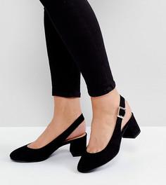Туфли для широкой стопы на блочном каблуке с ремешком через пятку New Look - Черный