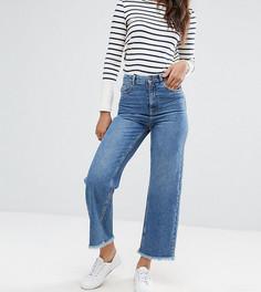 Укороченные джинсы с широкими штанинами, завышенной талией и необработанными краями ASOS TALL - Синий