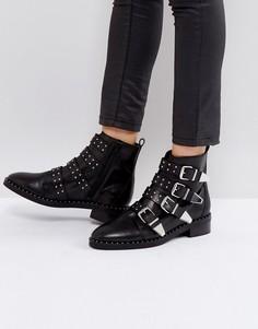 Кожаные ботинки с заклепками и пряжками Office Academic - Черный