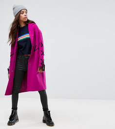Пальто со шнуровкой ASOS PETITE - Фиолетовый