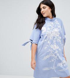 Платье с вышивкой из ткани шамбре ASOS CURVE - Синий