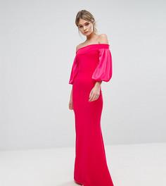 Платье макси с открытыми плечами и пышным рукавом на манжете TFNC - Розовый