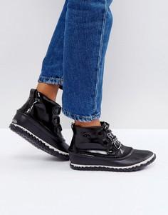 Черные непромокаемые кожаные лакированные ботинки Sorel Out N About - Черный
