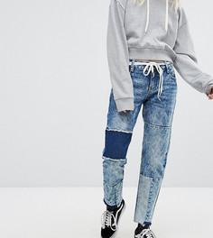 Прямые джинсы с нашивками и необработанными краями Urban Bliss Petite - Синий