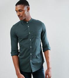 Зеленая джинсовая стретчевая рубашка с воротом на пуговице ASOS TALL - Зеленый