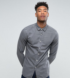Серая джинсовая рубашка скинни ASOS TALL - Серый