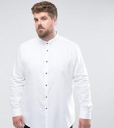Сатиновая приталенная рубашка с загнутыми уголками воротника и контрастными пуговицами ASOS PLUS - Белый