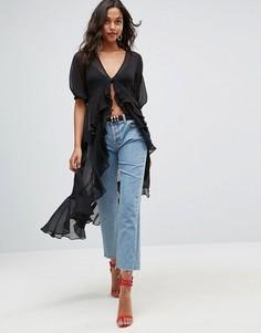 Шифоновая блузка макси с оборками ASOS Ultimate - Черный