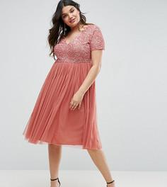 Платье миди с отделкой пайетками и юбкой из тюля Maya Plus - Розовый