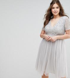 Платье миди с короткими рукавами и пайетками Maya Plus - Серый