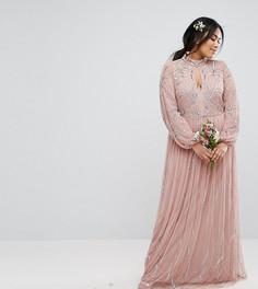 Платье макси с цветочной вышивкой пайетками и юбкой из тюля Maya Plus - Фиолетовый