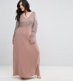 Платье макси с декоративной отделкой на топе Maya Plus - Фиолетовый