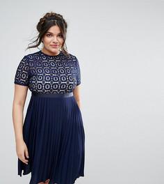Платье миди с ажурным лифом и плиссированной юбкой Little Mistress Plus - Темно-синий