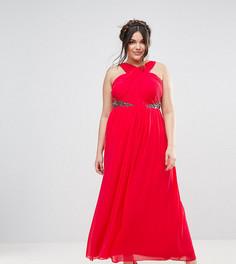 Платье макси с декоративной отделкой и перекрестной отделкой Little Mistress Plus - Красный