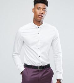 Облегающая атласная рубашка с контрастными пуговицами ASOS TALL - Белый