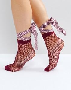Сетчатые носки с бантом ASOS - Фиолетовый