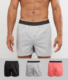 Комплект из 3 тканых боксеров черно-серого и розового цвета ASOS - СКИДКА - Мульти