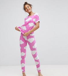 Пижамные футболка и леггинсы с принтом облаков ASOS TALL - Мульти