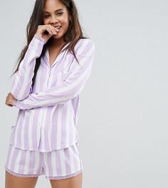 Пижамная рубашка и шорты в полоску с кружевной отделкой ASOS TALL - Мульти