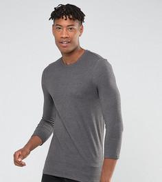 Серая обтягивающая футболка с рукавами длиной 3/4 ASOS TALL - Серый