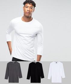 3 футболки длиной 3/4 ASOS TALL - СКИДКА - Мульти