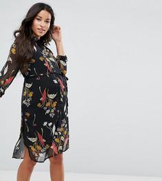 Платье-рубашка с цветочным принтом Mamalicious - Мульти Mama.Licious