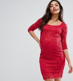 Облегающее кружевное платье для кормления Mamalicious - Красный Mama.Licious
