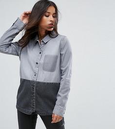 Джинсовая рубашка в стиле колор блок с карманом Supermom - Серый