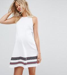 Свободное платье с вышивкой ASOS Maternity PETITE - Белый