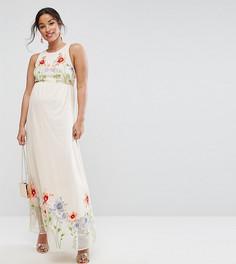 Сетчатое платье макси с вышивкой ASOS Maternity - Розовый
