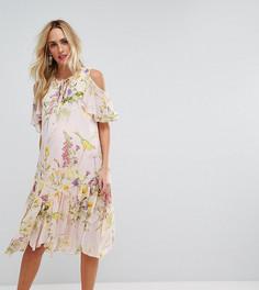 Платье с цветочным принтом и открытыми плечами ASOS Maternity - Мульти