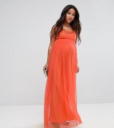 Платье макси с сетчатой накладкой ASOS Maternity - Оранжевый