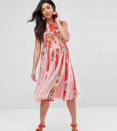 Приталенное платье миди со свободной юбкой и сетчатыми вставками ASOS Maternity - Мульти