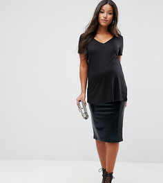Блестящая юбка с посадкой над животом ASOS Maternity - Черный