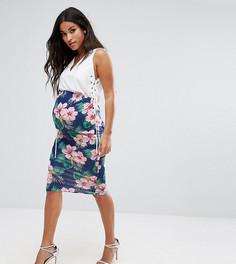 Юбка миди с посадкой над животиком и цветочным принтом ASOS Maternity - Темно-синий